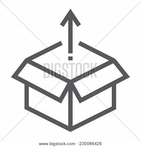 Product Release Line Icon, Development And Business, Open Box Sign Vector Graphics, A Linear Pattern
