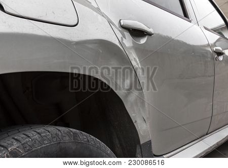 Dents On The Car Caused By The Accident