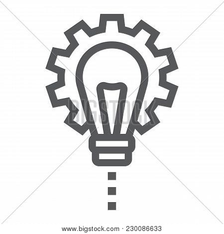 Product Development Line Icon, Development And Business, Lightbulb In Gear Sign Vector Graphics, A L