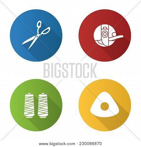 Tailoring Flat Design Long Shadow Glyph Icons Set. Fabric Scissors, Bobbin Case, Thread Spool, Sewin