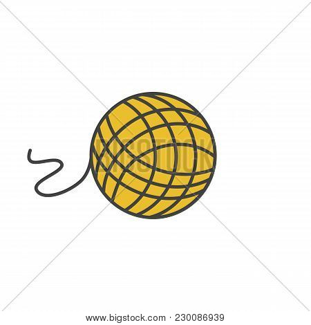 Knitting Yarn Clew Color Icon. Wool Thread Ball. Isolated Vector Illustration