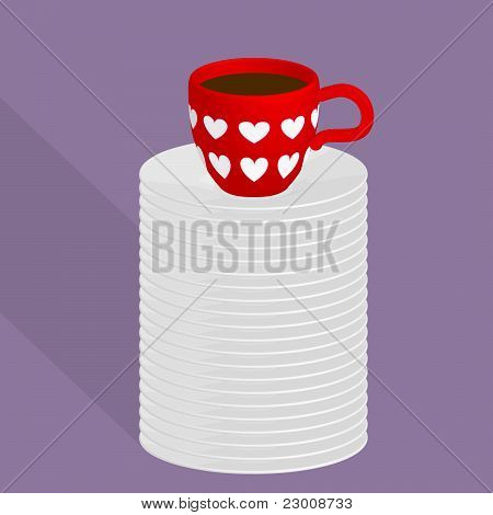 Red Cup Of Coffee On many Plates