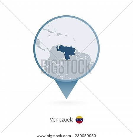 Map Pin With Detailed Map Of Venezuela And Neighboring Countries.