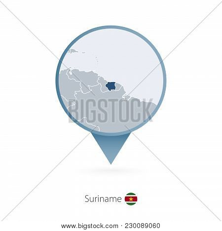 Map Pin With Detailed Map Of Suriname And Neighboring Countries.