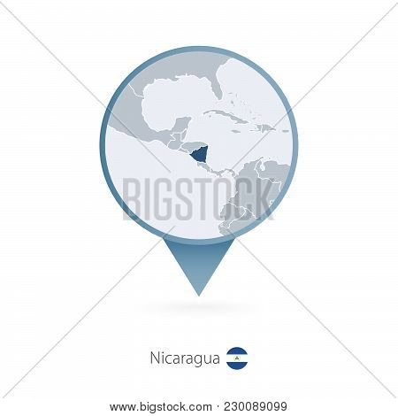 Map Pin With Detailed Map Of Nicaragua And Neighboring Countries.