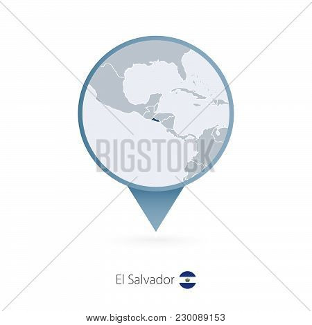 Map Pin With Detailed Map Of El Salvador And Neighboring Countries.