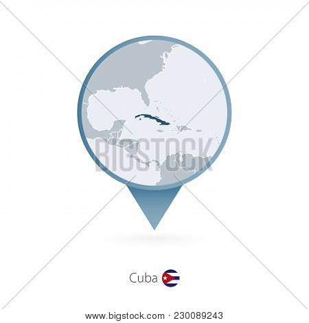 Map Pin With Detailed Map Of Cuba And Neighboring Countries.