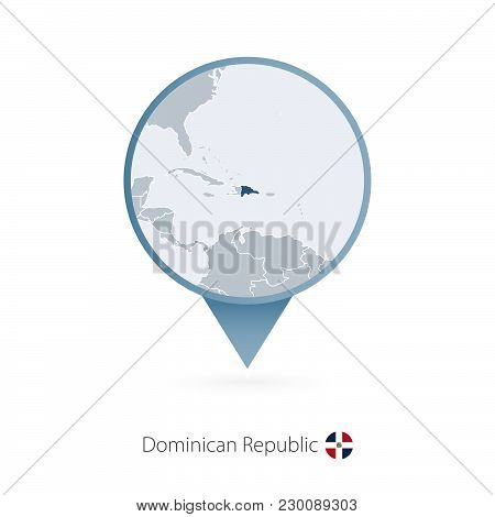 Map Pin With Detailed Map Of Dominican Republic And Neighboring Countries.