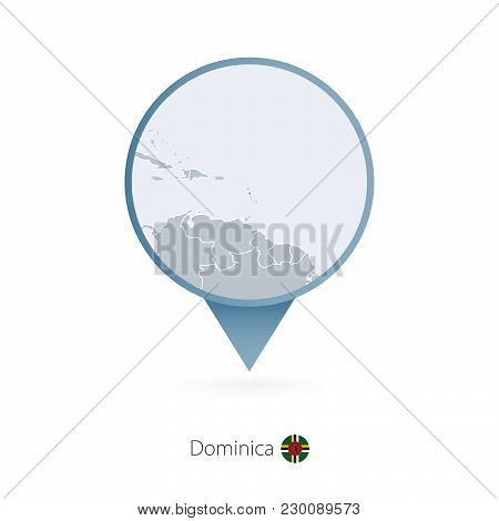 Map Pin With Detailed Map Of Dominica And Neighboring Countries.