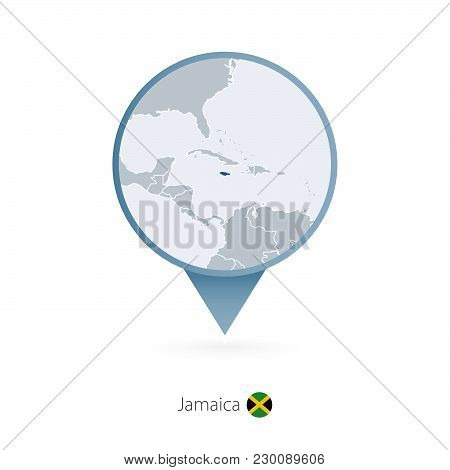 Map Pin With Detailed Map Of Jamaica And Neighboring Countries.