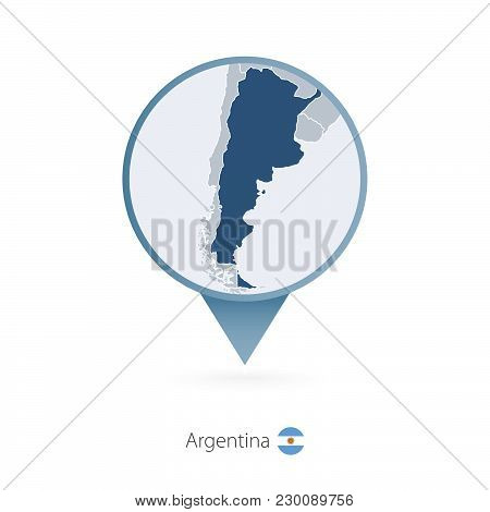 Map Pin With Detailed Map Of Argentina And Neighboring Countries.