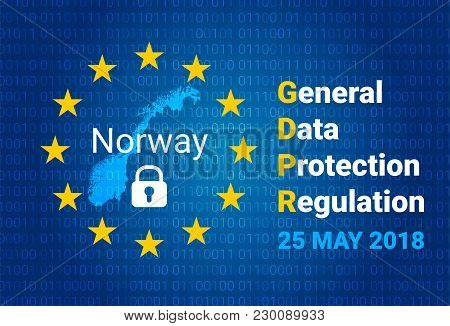 Gdpr - General Data Protection Regulation. Map Of Norway, Eu Flag. Vector Illustration