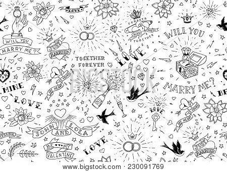 Old School Tattoos Seamles Pattern With Birds, Flowers, Roses And Hearts. Love And Wedding Theme. Bl