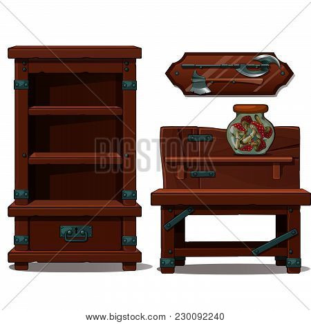 An Empty Cupboard With Shelves. Battle Axe. The Mushrooms In The Jar. Vector.