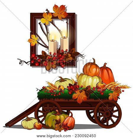 Autumn Interiors On The Theme Of A Rich Harvest Isolated On White Background. A Symbol Of Autumn, Ha