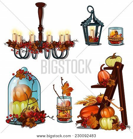 Autumn Interiors On The Theme Of A Rich Harvest. Vector.