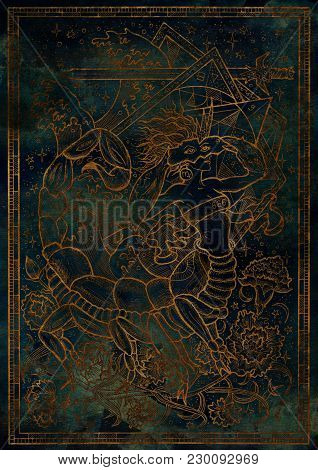 Zodiac Sign Scorpion On Blue Mystic Texture Background. Hand Drawn Fantasy Graphic Illustration In F