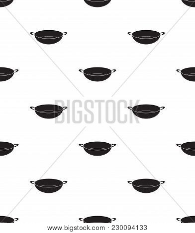 Wok Chinese Pan Icon Vector Illustration. Flat Sign Seamless On White Background.