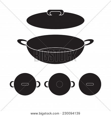 Wok Chinese Pan Icon Vector Illustration. Flat Sign Isolated On White Background.