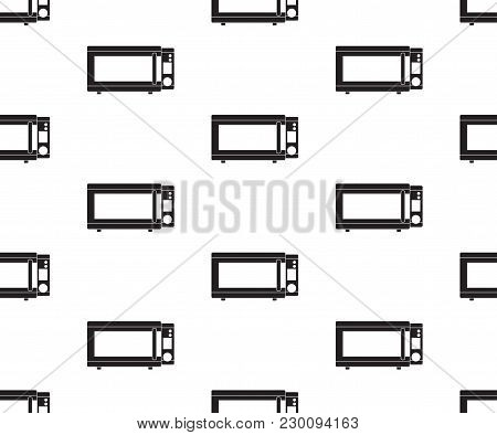 Microwave Oven Icon Vector Illustration. Flat Sign Seamless On White Background.