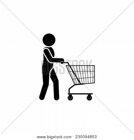 .man With Shopping Trolley Icon Black On White Background
