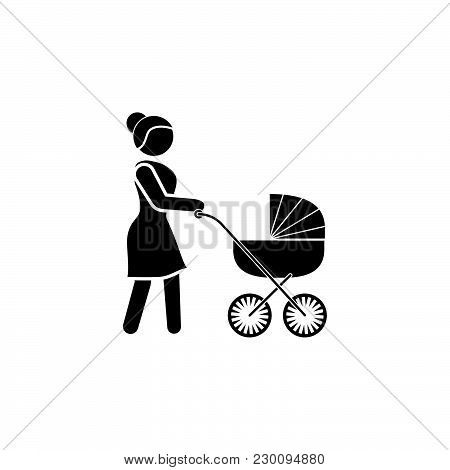 Woman With A Baby Stroller Icon. Mother Icon