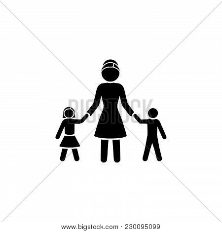 Mom With Children. ..mom With Daughter And Son. A Woman With A Boy And A Girl