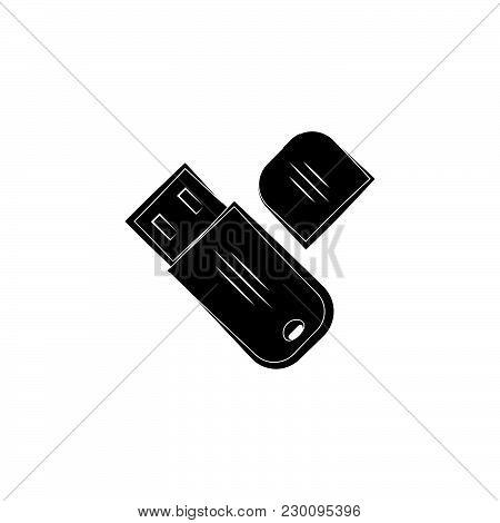 Flash Drive Icon Black On White Background