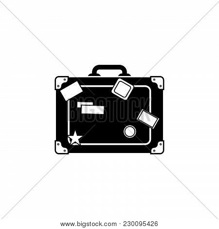 Travel Bag Icon. Suitcase Icon Black On White Background