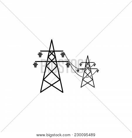 Power Lines Icon Black On White Background