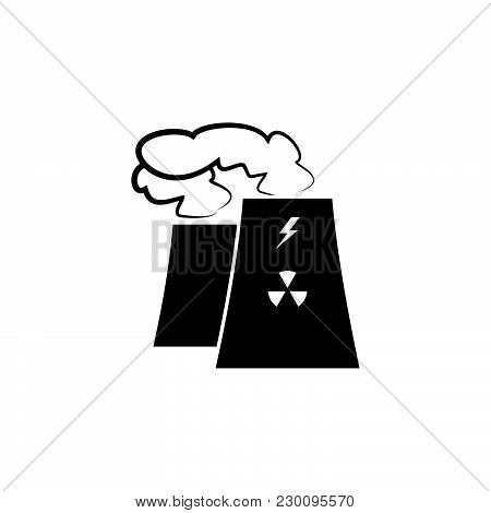 Factory Icon. Environmental Pollution Black On White Background