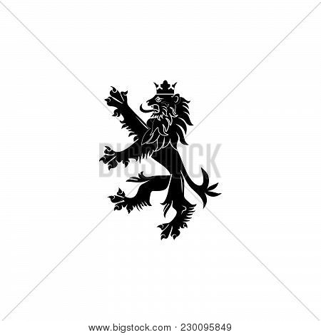 Coat Of Arms Of England. Standing Proud Lion, Victorian Emblem