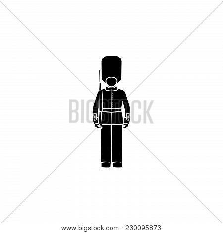 English Guard. Beefeater Black On White Background
