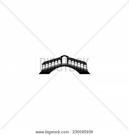 Rialto Bridge In Venice Black On White Background