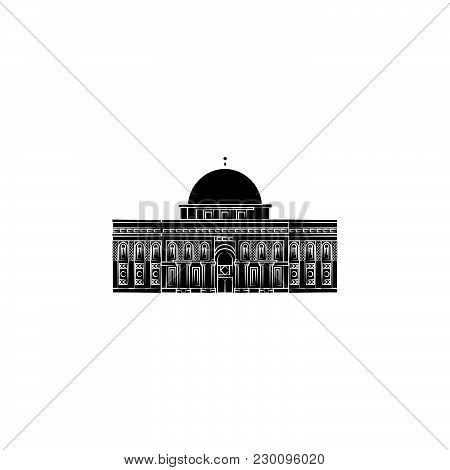 Al Aqsa. Mosque In Jerusalem Black On White Background