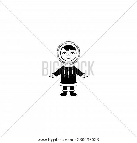 Eskimo Vector Icon Black On White Background