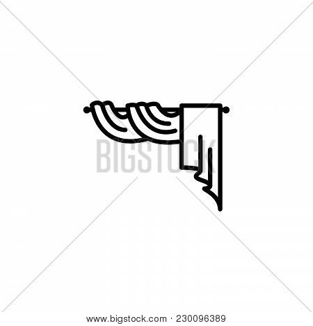 Web Line Icon. Window Curtain Black On White Background