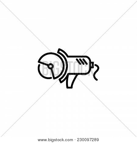 Web Line Icon. Electric Angle Grinder Black On White Background