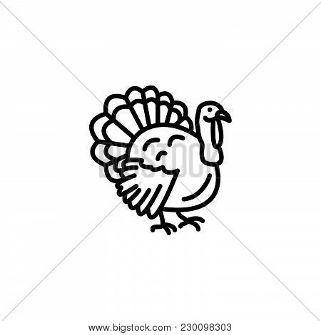 Web Line Icon. Turkey Black On White Background