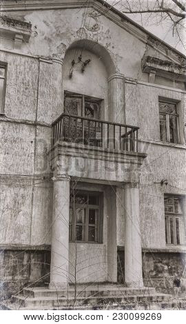 Very Old Residential Building. Apartment Building. House With Columns. Vintage Style. Retro Effect.