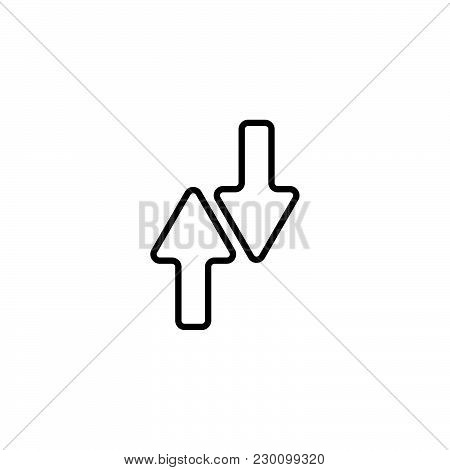 Web Line Icon. Arrows Up-down Black On White Background