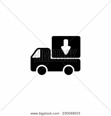 Web Line Icon. Delivery, Truck Black On White Background