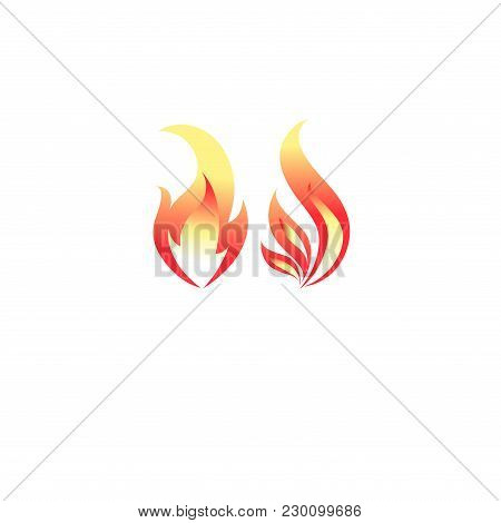 Fire Flame Icon Vector Template. Hot Red Orange Fire Flame For Caution Hot Or Spicy Food And Logo Fo