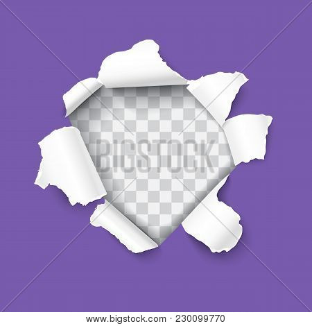 Ultra Violet Torn Paper With Ripped Edges And Rooled Up Sides, Round Shaped Hole Isolated On Transpa
