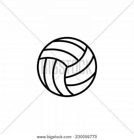 Web Line Icon. Volleyball Black On White Background