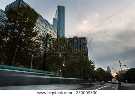 Skyscrapers Of Diagonal Street In Barcelona