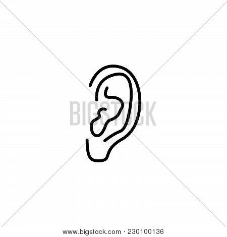 Web Line Icon. Ear Black On White Background