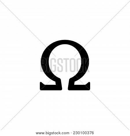 Web Icon. Omega Symbol Black On White Background