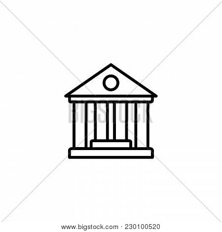 Web Line Icon. Classical Building With Columns (university Icon, Bank Icon)