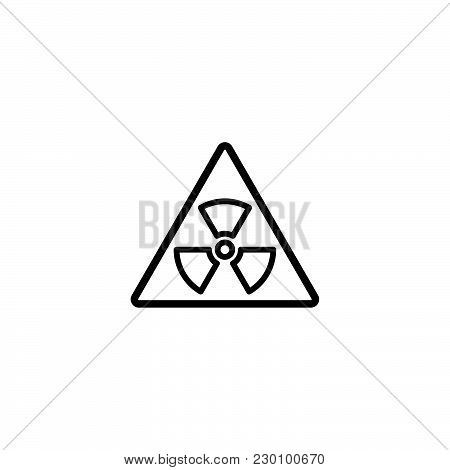 Web Line Icon. Radiation Hazard Black On White Background